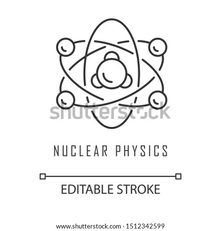 Nuclear physics linear icon. Atomic structure. Electrons, neutrons and protons. Subatomic molecular particles. Thin line illustration. Contour symbol. Vector isolated outline drawing. Editable stroke