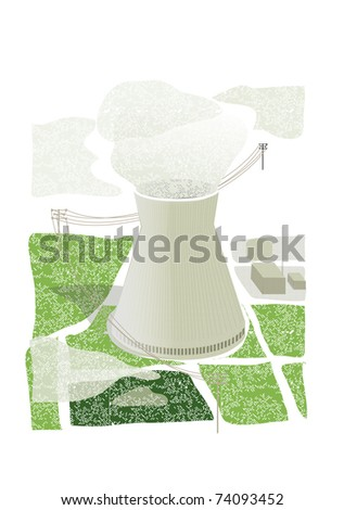 nuclear plant in a green field