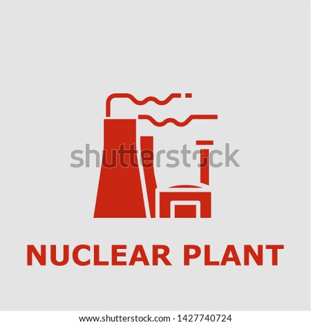 Nuclear plant symbol. Outline nuclear plant icon. Nuclear plant vector illustration for graphic art.