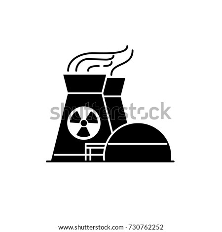 Nuclear power plant silhouette icon in flat style. Non-renewable energy source symbol isolated on white background.