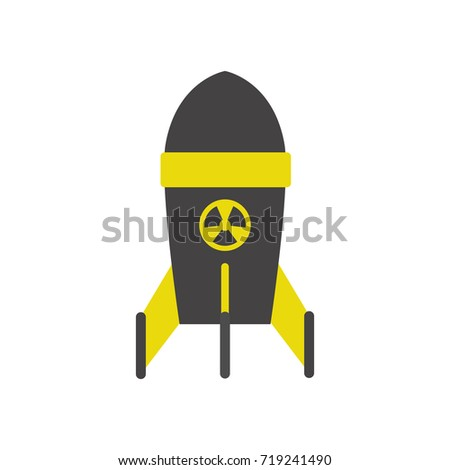 nuclear rocket isolated on white