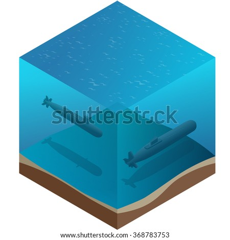 Nuclear submarine traveling underwater. Flat 3d isometric vector illustration. For infographics and design games.