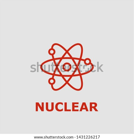 Nuclear symbol. Outline nuclear icon. Nuclear vector illustration for graphic art.