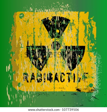 nuclear warning , grungy radiation sign
