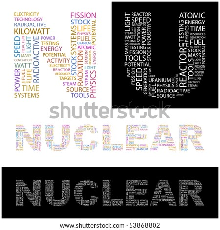 NUCLEAR. Word collage. Vector illustration.