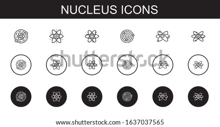 nucleus icons set. Collection of nucleus with atoms, atom, atomic. Editable and scalable nucleus icons. Stock photo ©
