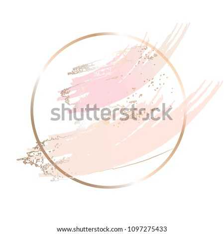 Nude rose brush strokes. Gold round contour frame.
