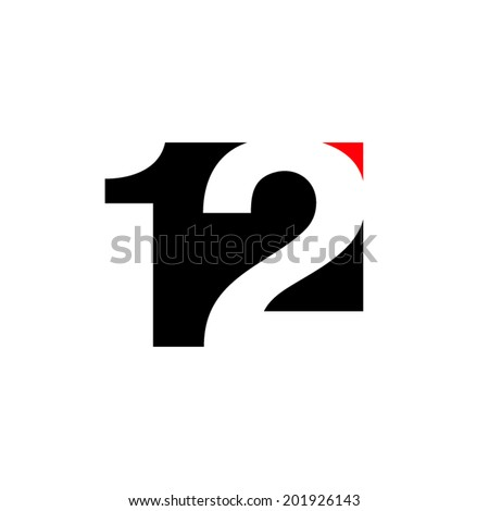 number 12 abstract sign branding identity corporate vector l