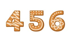 Number and Numeral as Freshly Baked Cookie and Christmas Holiday Treat Vector Set