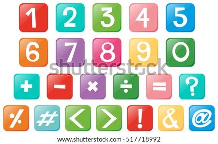 number and signs on square