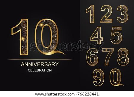 number,10 aniversary,celebration,golden number
