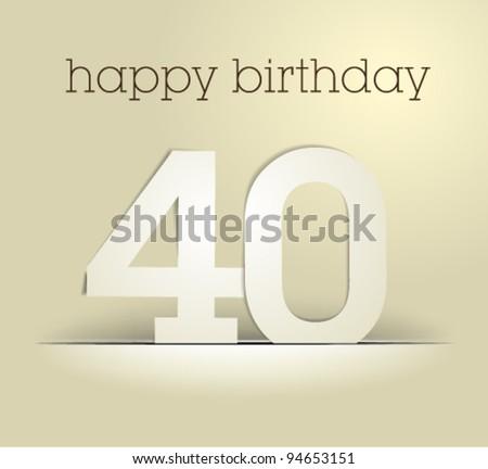 stock vector : number 40 / birthday card vector / simpl