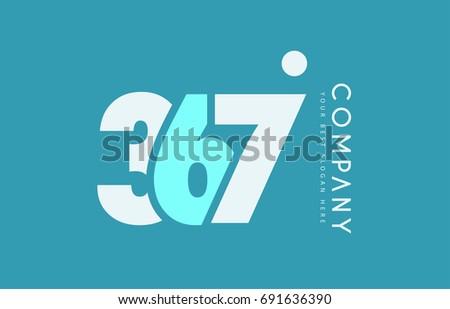 number 367 blue white cyan logo