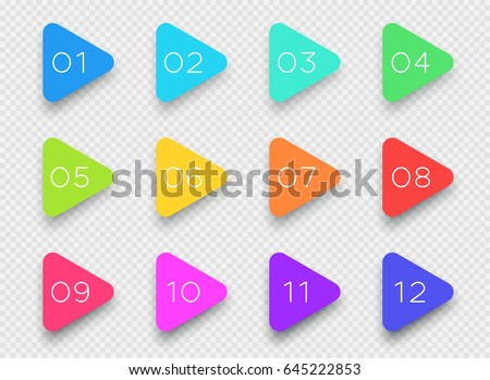 Number Bullet Point Colorful 3d Triangles 1 to 12 Vector