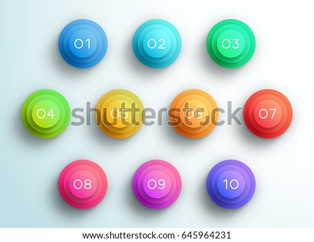 Number Bullet Point 3d Pyramid Circles 1 to 10 A