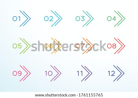 Number Bullet Point Outline Arrow Set 1 to 12 Stock foto ©