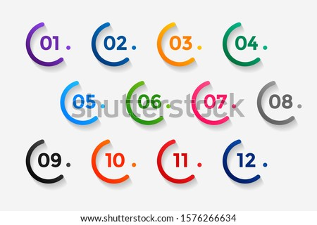 number bullet points from one to twelve Stock foto ©