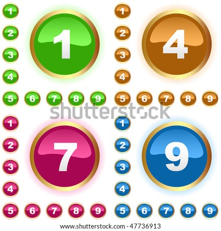 Number button. Vector set. - stock vector