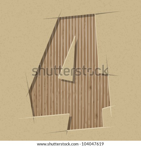 Number 4 cut out on a cardboard. Vector paper alphabet