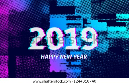 Number 2019 distorted, glitch effect. Background screen error graphics. Background with broken strokes, screen error. Vector design elements. Modifiable color. Unusual banner for new year 2019.
