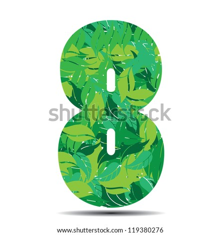number eight in leaves vector illustration