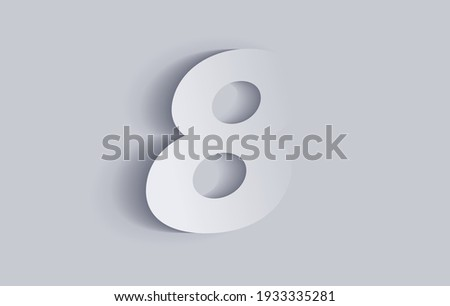 Number eight, 8 with shadow. Cut out paper isolated on background. Vector illustration EPS 10. Photo stock ©