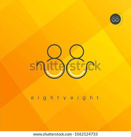 Number eighty eight, Digit 88 Logo Icon vector template.