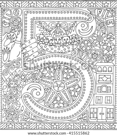 number 5 five adult coloring