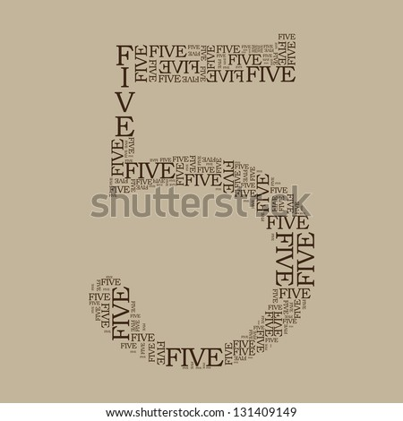 number five created from text - illustration