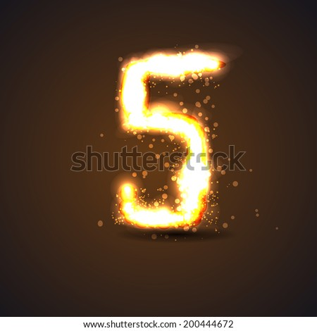number five with light effect