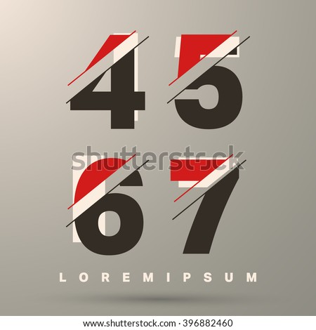 Number font template. Set of numbers 4, 5, 6, 7 logo or icon. Vector illustration.