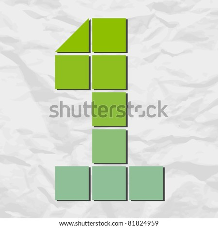 Number 1 from squares and triangles on a paper-background. Vector illustration