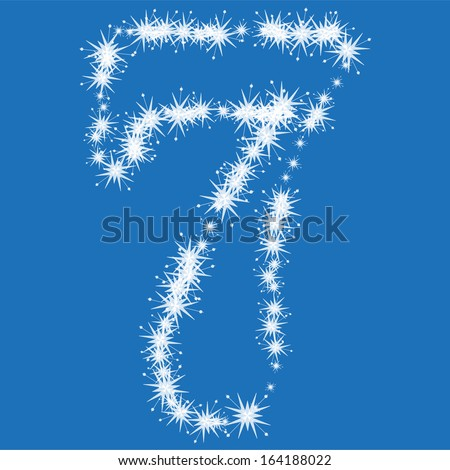 number 7  from white snowflakes