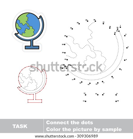 Number game for kids. Connect dots for numbers and find hidden earth. Dot to dot game.