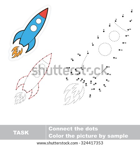 Number game. One cartoon rocket to be traced.