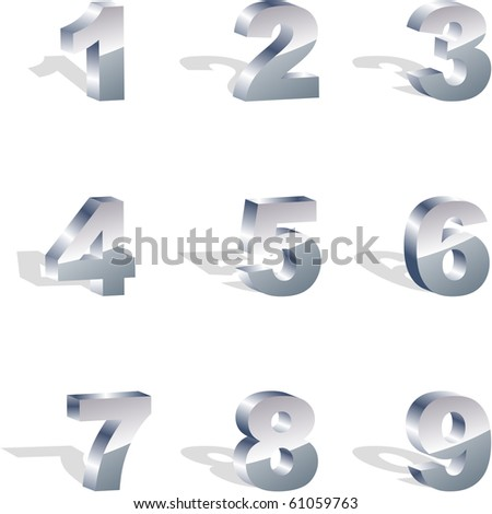 Number icon set. Metal collection.
