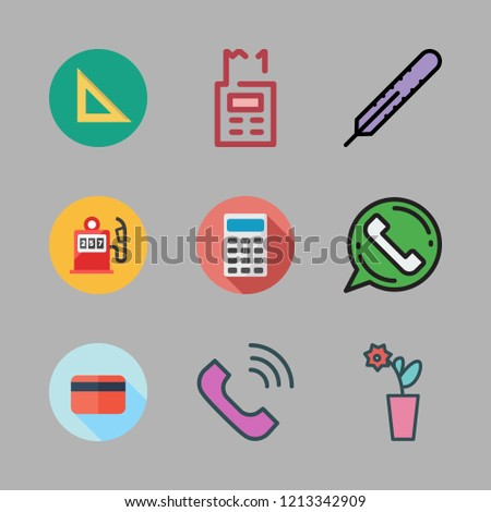number icon set. vector set about set square, calculator, thermometer and gas station icons set.