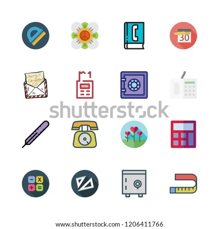 number icon set. vector set about set square, calendar, measuring tape and letter icons set.