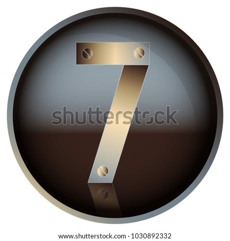 number 7 in a metal retro style