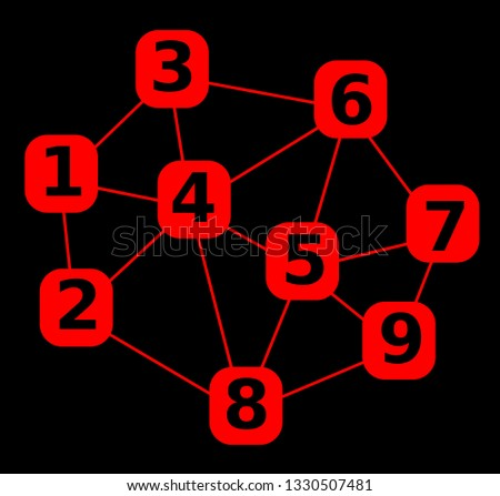 Number in mesh, network with number, abstract illustration with numbers in red rounded squares, red mesh on black background