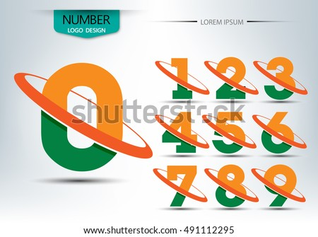 Number lamp template, set of numbers logo or icon, for happy new year concept, vector Illustration