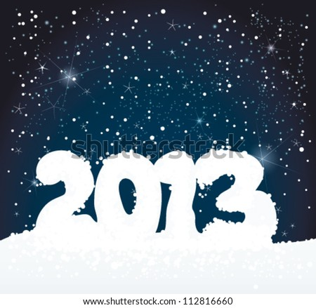 Number 2013 like snowman / Winter background