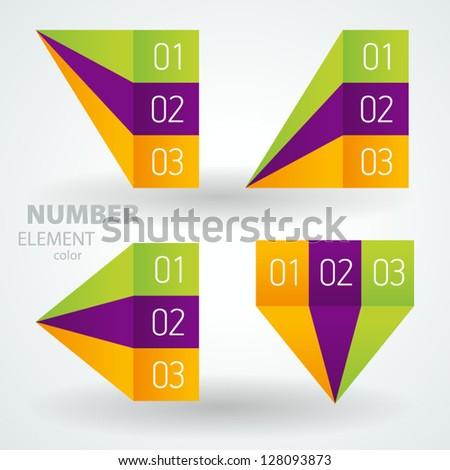 number list perspective arrow cursor element set