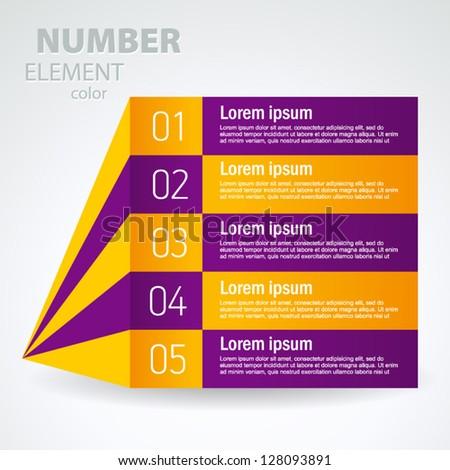 number list perspective arrow cursor element set - stock vector