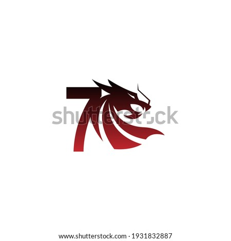 number 7 logo icon with dragon