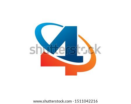 number 4 logo or symbol