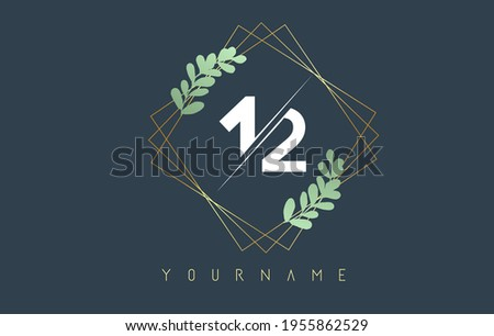 number 12 1 2 logo with golden