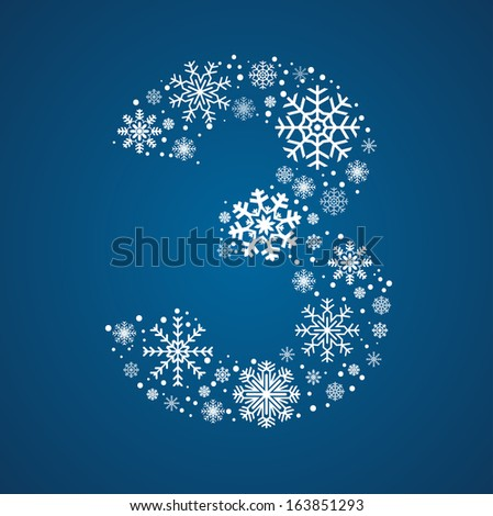 number 3 made from frosty