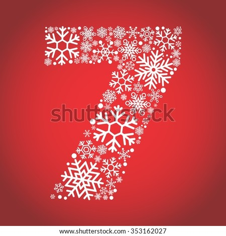 number 7 made from frosty