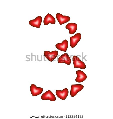 Number 3 made of hearts on white background